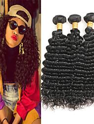economico -3 pacchetti Peruviano Profondo riccio Cappelli veri Extension di capelli umani 8-24 pollice Tessiture capelli umani Disegni alla moda / Migliore qualità / Nuovo arrivo Estensioni dei capelli umani
