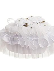 cheap -Fabrics Faux Pearl / Lace Satin Ring Pillow Beach Theme / Garden Theme / Butterfly Theme All Seasons