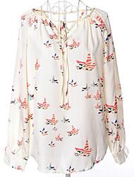 Недорогие -Жен. Шнуровка Блуза Классический / Уличный стиль Геометрический принт
