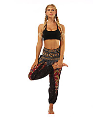 cheap -Women's Harem / Smocked Waist Yoga Pants - Red black Sports Floral Print, Bohemian, Hippie High Rise Bloomers / Bottoms Belly Dance, Fitness Activewear Lightweight, Moisture Wicking, Breathable