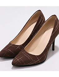 Недорогие -Жен. Обувь Полотно / Микроволокно Лето Туфли лодочки Обувь на каблуках На шпильке Черный / Синий / Темно-коричневый