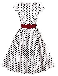 baratos -Mulheres Para Noite Vintage / Moda de Rua Evasê Vestido Poá Altura dos Joelhos