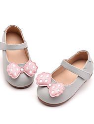 povoljno -Djevojčice Cipele PU Ljeto Cipele za bebe Ravne cipele Mašnica / Mat selotejp za Dijete koje je tek prohodalo Crn / Sive boje