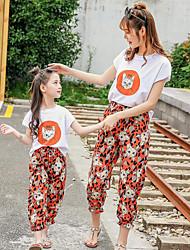 Недорогие -2шт Взрослые / Дети Мама и я Кот Животное С короткими рукавами Набор одежды