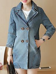 Недорогие -Жен. Джинсовая куртка Классический - Однотонный, Хлопок