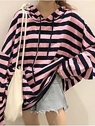 billige -Kvinders langærmet bomuldshætte - stribet hættetrøje