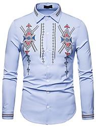 Недорогие -Муж. Вышивка Рубашка Богемный / Шинуазери (китайский стиль) Этно
