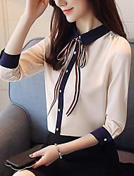 preiswerte -Damen Solide - Retro / Grundlegend Bluse Schleife / Gefaltet / mit Schnürung