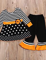 Недорогие -Дети Девочки Активный Полоски Halloween Длинный рукав Хлопок Набор одежды Черный