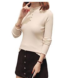 Недорогие -Жен. Хлопок Длинный рукав Пуловер - Однотонный Вырез под горло