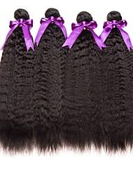 Недорогие -4 Связки Монгольские волосы Вытянутые Необработанные / Натуральные волосы Подарки / Косплей Костюмы / Человека ткет Волосы 8-28 дюймовый Естественный цвет Ткет человеческих волос