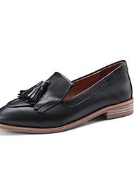 abordables -Femme Cuir Nappa Automne Confort Mocassins et Chaussons+D6148 Block Heel Noir / Marron / Vin
