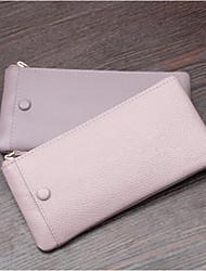 Недорогие -женские сумки наппа кожаный мобильный телефон сумка молния покраснеет розовый / черный