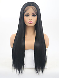 abordables -Perruque Lace Front Synthétique Droit soyeux Noir Partie médiane Noir Naturel Cheveux Synthétiques 24-26 pouce Femme Ajustable / Résistant à la chaleur Noir Perruque Long Lace Frontale