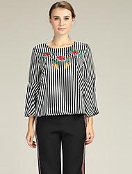 baratos -Mulheres Blusa Básico / Temática Asiática Bordado, Floral / Tribal Preto & Branco