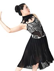 billige -Ballet Kjoler Dame Ydeevne Elastisk / Mesh / Lycra Perlearbejde / Applikeret broderi / Kombination Uden ærmer Naturlig Hår Smykker / Kjole / Halsklæder
