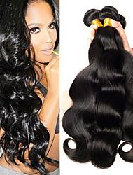 billige -4 pakker Indisk hår Bølget Menneskehår Menneskehår, Bølget / Bundle Hair / Én Pack Solution 8-28 inch Menneskehår Vævninger Maskinproduceret Klassisk / Bedste kvalitet / Sikkerhed Naturlig Naturlig