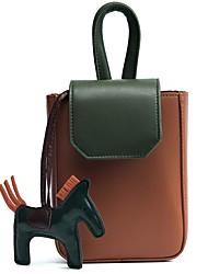 cheap -Women's Bags PU(Polyurethane) Mobile Phone Bag Color Block Beige / Gray / Brown