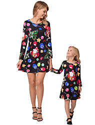 cheap -2pcs Adults / Kids Mommy and Me Rainbow Long Sleeve Dress