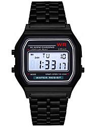 Недорогие -Муж. Жен. электронные часы Цифровой Черный / Серебристый металл / Золотистый Секундомер Новый дизайн ЖК экран Цифровой Кольцеобразный минималист - Черный Серебряный Розовый / Один год / SSUO 377