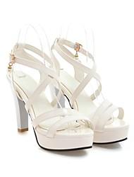 baratos -Mulheres Sapatos Couro Ecológico Verão Conforto Sandálias Salto Robusto Preto / Verde / Rosa claro