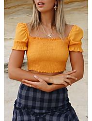 baratos -Mulheres Camiseta Sólido Decote Quadrado