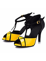 baratos -Mulheres Sapatos de Dança Latina Couro Sintético Salto Salto Grosso Sapatos de Dança Amarelo / Espetáculo / Ensaio / Prática