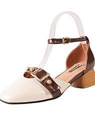 Недорогие -женская полиуретановая летняя одежда& каблуки из двух частей низкий каблук квадратный носок бежевый / хаки / ежедневно