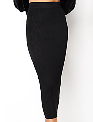 cheap -Women's Basic / Street chic Bodycon Skirts - Solid Colored