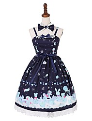 cheap -Sweet Lolita Dress Classic Lolita Dress Cute Female Masquerade JSK / Jumper Skirt Cosplay Blue / Ink Blue Sleeveless Sleeveless Knee Length Halloween Costumes