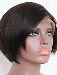 economico -capelli naturali Remy Lace frontale Parrucca Brasiliano Ondulato naturale Parrucca Taglio medio corto Taglio scalato Parte di mezzo 130% Densità dei capelli con i capelli del bambino Attaccatura dei