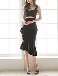 cheap -Women's Street chic Little Black / Skater Dress - Solid Colored