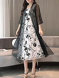 abordables -Femme Chinoiserie Ample Deux Pièces Robe - Imprimé, Fleur Mi-long / Automne