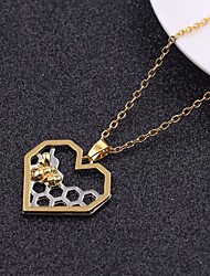 cheap -Women's Stylish / Trace Pendant Necklace / Chain Necklace - Heart, Bee Stylish, Unique Design, Sweet Golden+Silver 60 cm Necklace 1pc For Gift, Date