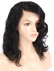 Недорогие -Натуральные волосы Лента спереди Парик Бразильские волосы Бирманские волосы Волнистые Парик Стрижка боб 130% Плотность волос Женский Легко туалетный Лучшее качество Нейтральный Жен. Короткие
