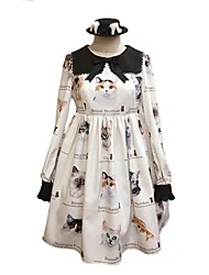 cheap -Sweet Lolita Dress Casual Lolita Dress Stylish Sweet Lolita Female Dress Masquerade Cosplay White Bishop Sleeve Long Sleeve Knee Length Halloween Costumes
