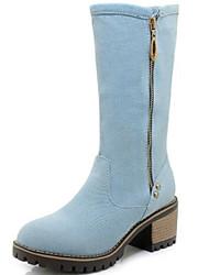 cheap -Women's Denim Spring &  Fall Cowboy / Western Boots Boots Block Heel Round Toe Mid-Calf Boots Black / Dark Blue / Light Blue