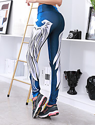 cheap -Women's Sexy Yoga Pants - Blue, Bule / Black, White+Sky Blue Sports Print Modal Leggings Running, Fitness, Workout Activewear Compression, Comfortable, Push Up Stretchy