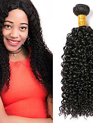 billige -3 Bundler Peruviansk hår Kinky Curly Menneskehår Gaver / Hovedstykke / Udvidelse 8-28 inch Menneskehår Vævninger Maskinproduceret Klassisk / Vævet / Tyk Sort Naturlig Farve Menneskehår Extensions Dame