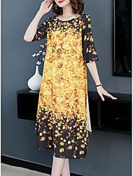 cheap -Women's Basic Shift Dress - Geometric Print