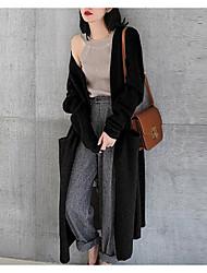 billige -Kvinders langærmet bomulds cardigan - solid farvet rund hals