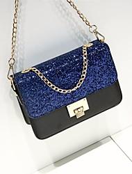 baratos -Mulheres Bolsas PU Bolsa de Ombro Lantejoulas Rosa / Cinzento / Azul Real