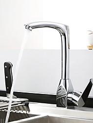 Недорогие -кухонный смеситель - Одной ручкой одно отверстие Хром По центру Современный