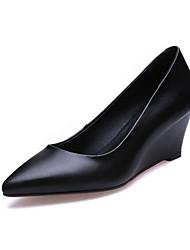 cheap -Women's Nappa Leather Fall Basic Pump Heels Wedge Heel Black