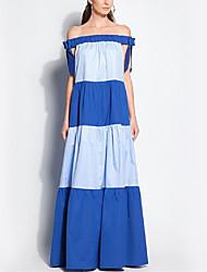 cheap -Women's Slim Sheath Dress - Color Block High Waist Maxi Strapless / Summer