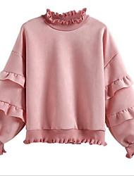 baratos -camisola de algodão de manga comprida para mulher - gola redonda de cor sólida
