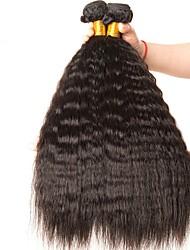 Недорогие -4 Связки Бразильские волосы Вытянутые 8A Натуральные волосы Необработанные натуральные волосы Человека ткет Волосы Сувениры для чаепития Уход за волосами 8-28 дюймовый Естественный цвет