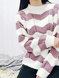 billige -Dame langærmet pullover - stribet / solid farvet rund hals
