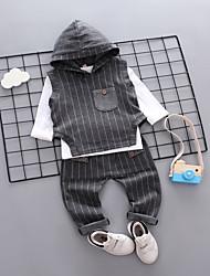 Недорогие -малыш Мальчики Черное и белое Гусиная лапка / Шахматка Длинный рукав Набор одежды