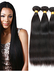 baratos -3 pacotes Cabelo Malaio Liso Cabelo Humano Presentes / Peça para Cabeça / Extensor 8-28 polegada Preta Côr Natural Tramas de cabelo humano Fabrico à Máquina Clássico / Tecido / Melhor qualidade